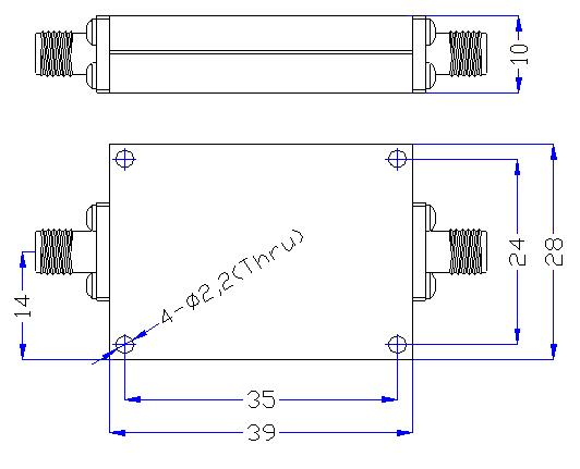 4.0 GHz to 18 GHz Rejection ≥60 dB @ DC - 3.5 GHz High Pass Cavity Filter 01