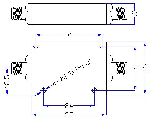 5.0 GHz to 22 GHz Rejection ≥60 dB @ DC-4.48 GHz High Pass Cavity Filter 01