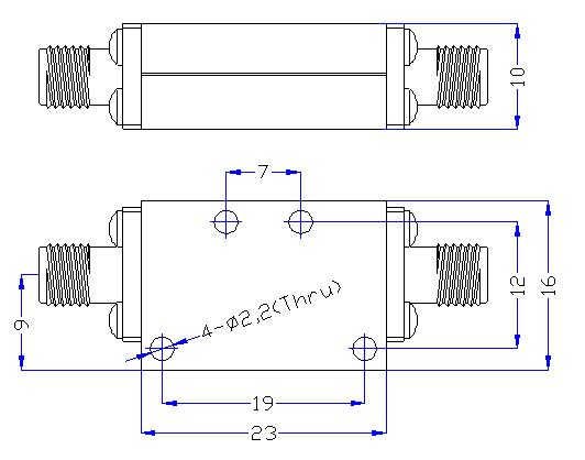 5.0 GHz to 24 GHz Rejection ≥50 dB @ DC-4.0 GHz High Pass Cavity Filter 01