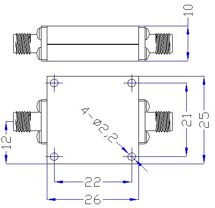 5.5 GHz to 16 GHz Rejection ≥45 dB @ DC-4.25 GHz High Pass Cavity Filter 01