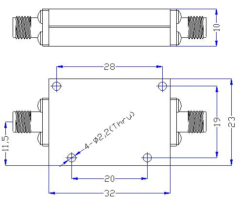6.0 GHz to 24 GHz Rejection ≥60 dB @ DC-5.4 GHz High Pass Cavity Filter 01