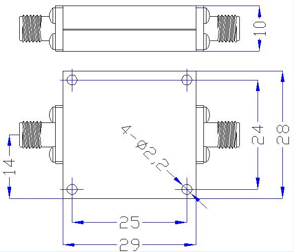 6.6 GHz to 18 GHz Rejection ≥45 dB @ DC-5.1 GHz High Pass Cavity Filter 01