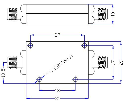 7.0 GHz to 18 GHz Rejection ≥60 dB @ DC-5.8 GHz High Pass Cavity Filter 01