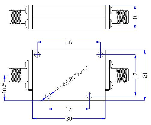 7.0 GHz to 24 GHz Rejection ≥60 dB @ DC -6.3 GHz High Pass Cavity Filter 01