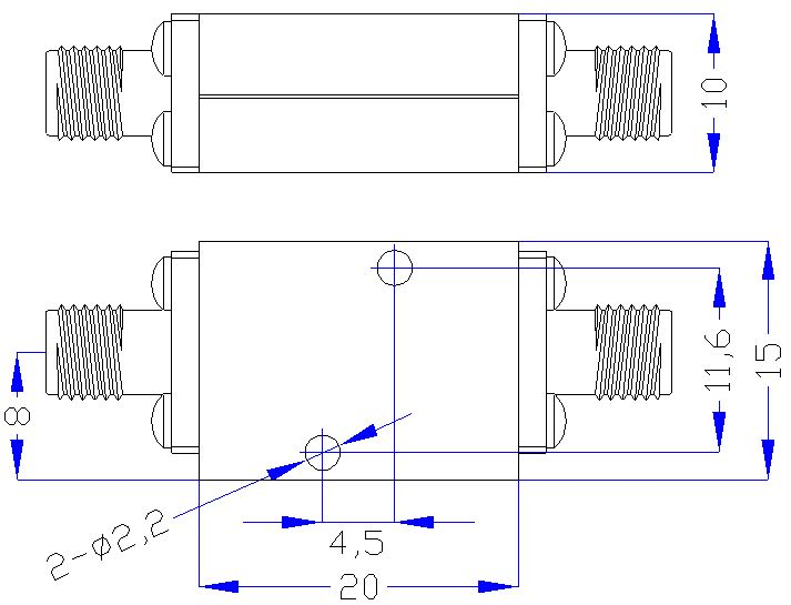 7.5 GHz to 18 GHz Rejection ≥40 dB @ DC-6 GHz High Pass Cavity Filter 01