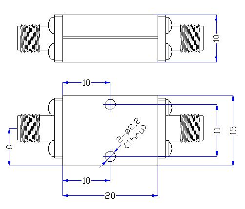 7.5 GHz to 27 GHz Rejection ≥50 dB @ DC-6.25 GHz High Pass Cavity Filter 01