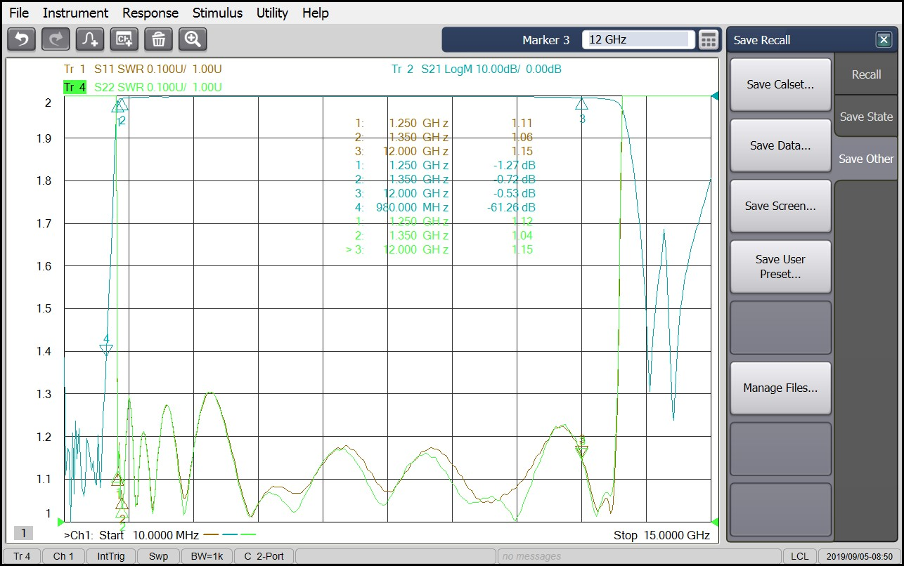 1.25 GHz to 12 GHz Rejection ≥50 dB @ DC -0.98 GHz High Pass Cavity Filter 02
